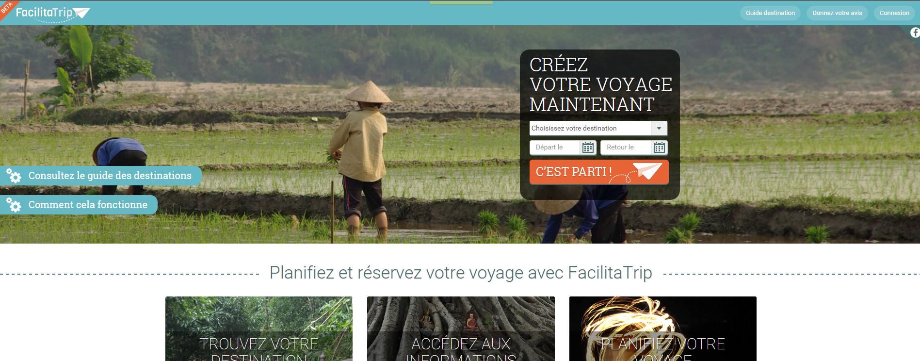 Image de l'accueil du site FacilitaTrip.com